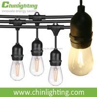 120V 220V 33FT LED Indoor/Outdoor decorative string lights S14 Edison filament light bulb Commercial grade