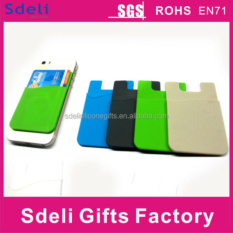 2014 Hot 3M sticker silicone smart card holder,mobile phone silicone wallet card case