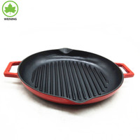 Cast Iron Round Enamel Grill Pan with Handle