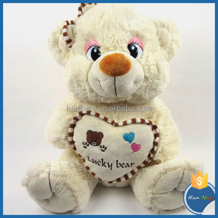 wholesale 100% organic cotton plush teddy bear toy with embroidery