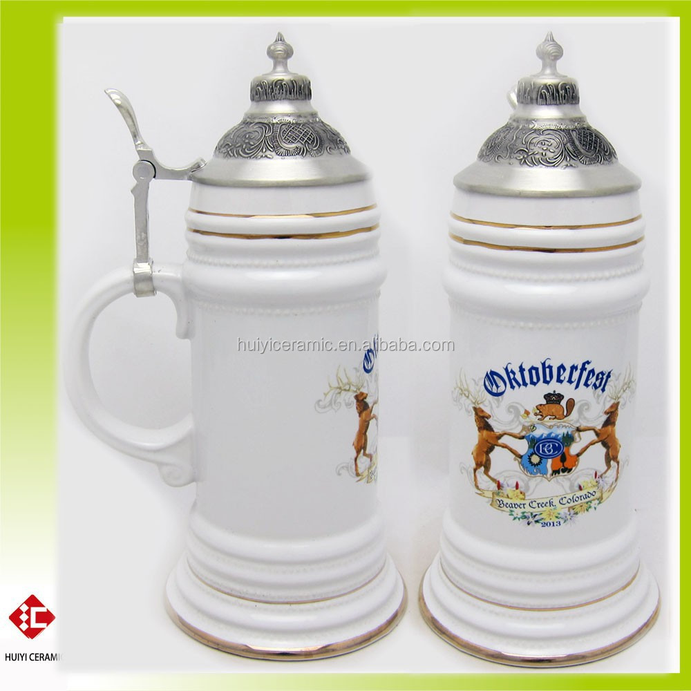 Custom Made and Printing Decal Stoneware Octoberfest German Ceramic Beer Stein