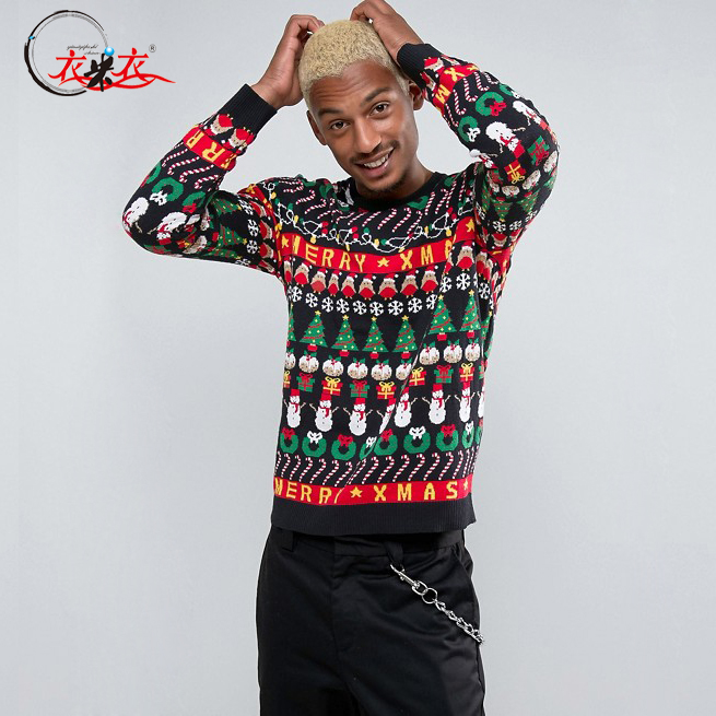 Wholesale Knitted Snowman Ugly Christmas Pullover Sweater for men