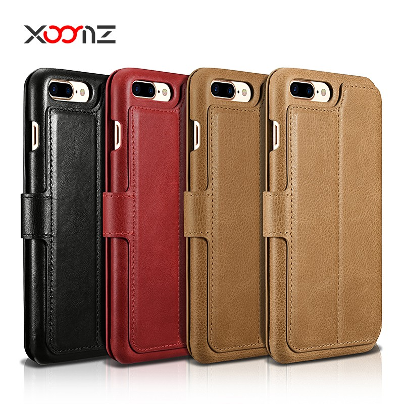 XOOMZ Premium Magnetic Wallet Purse Genuine Real Leather Flip Case for iPhone 7 7plus with Card Slot