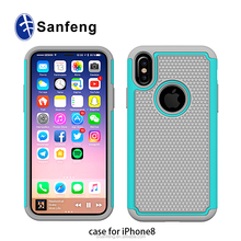 For iPhone 8/iPhone x Hybrid Combo Case I8 3 in1 PC+Silicon Case 8G/8S Shockproof Defender Case