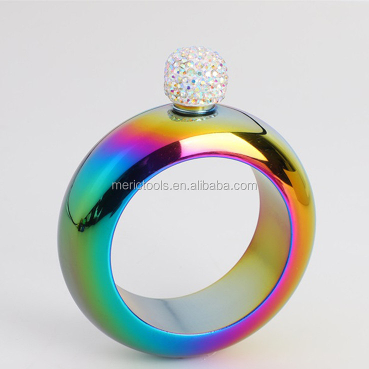 Bracelet Bangle Flask 304 Stainless Steel with Handmade Crystal  for Women Girls Dance Birthday Party Club Bar, 3.5oz