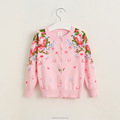 Wholesale button kids cotton cardigan girls printing peony designer flower children coat sweater