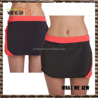 black red polyester/spandex tennis skirt/ custom make cheap tennis sports skirt 2017