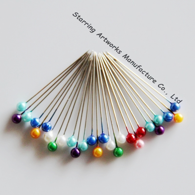 Decorative 38mm Assorted Colors Plastic Ball Head Dressmaking Pin