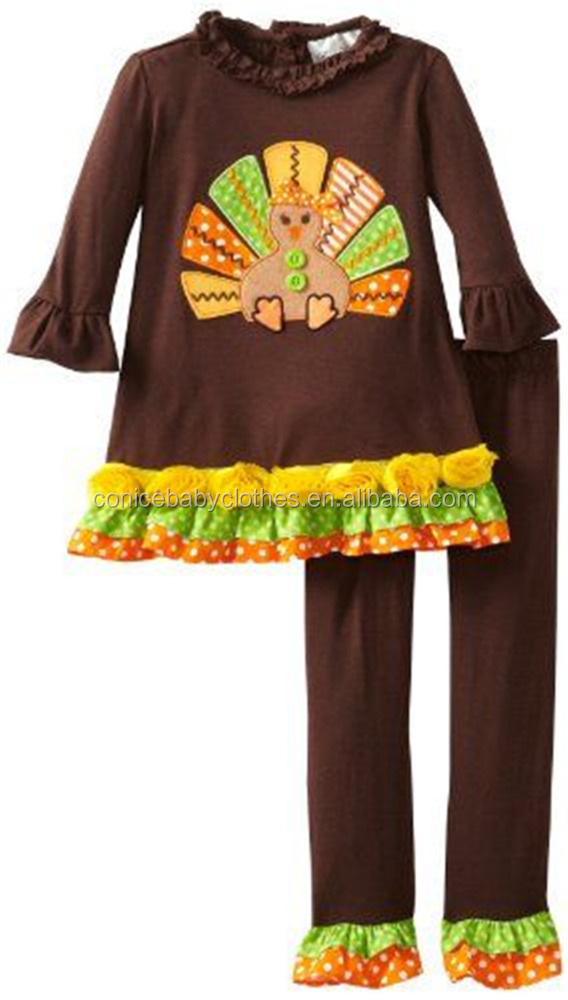 fashion style fall winter wearing baby girls turkey thanksgiving clothes frorm yiwu clothing market
