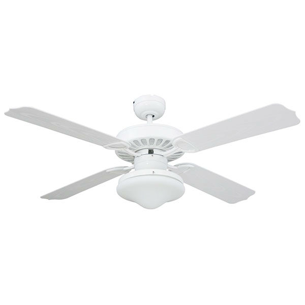 WHITE 4 BLADES CEILING FAN IP55 FOR OUTDOOR USE 42 DIAMETRE MOTOR: 55W