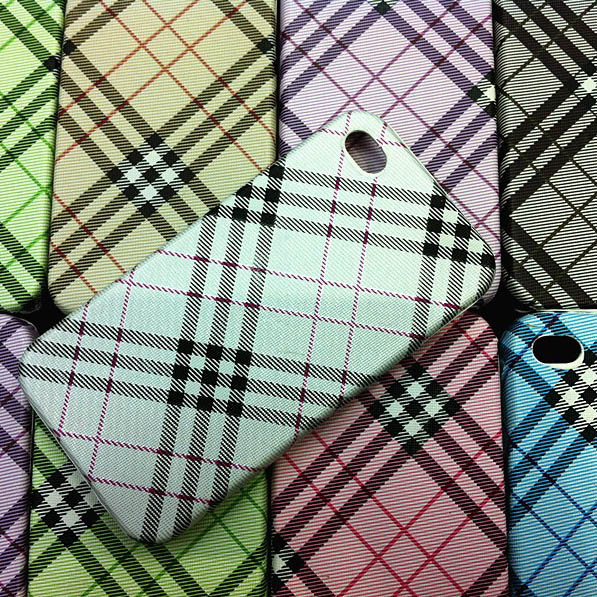 Fashion Checker Stripes Leather Hard Plastic Cell Phone Cases for Iphone 4s
