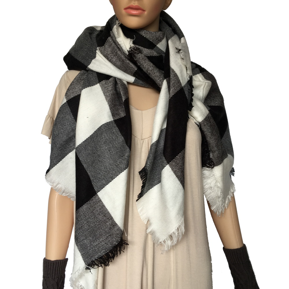 tartan acrylic blanket scarf stock clearance shawl 148*138cm on sale cheap check scarf