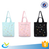 new reusable zipper printing canvas shopping tote bag