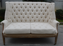 Fabric furniture two seat lounge chair modern button back cheap fabric chesterfield sofa
