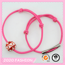 Plastic Bead and Tube Thin Braid Rubber Hair Elastic Band for Girls