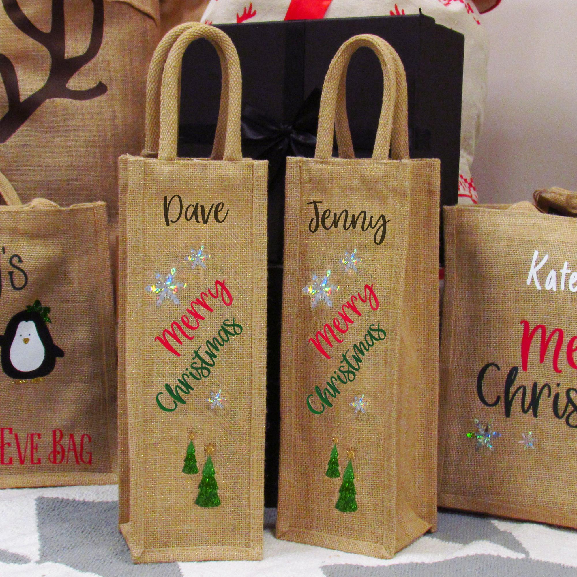 Natural burlap jute gift bag wine with handles