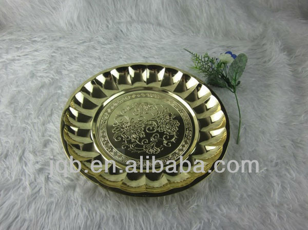 stainless steel round flower food tray