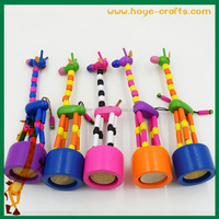 press button wooden giraffe push toy