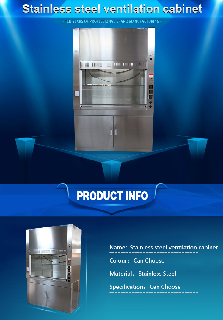 Commercial Stainless steel Lab Science pulfier Industrial exhaust hood, chemical fume hood
