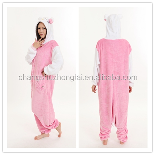 cosplay animal Pink Kitty onesie costume unisex pajamas sleepwear jumpsuit kigurumi