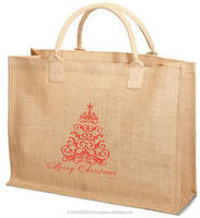 Printed jute tote bag with rope handle and metal eyelet
