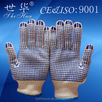 construction machine use pvc dot cotton glove