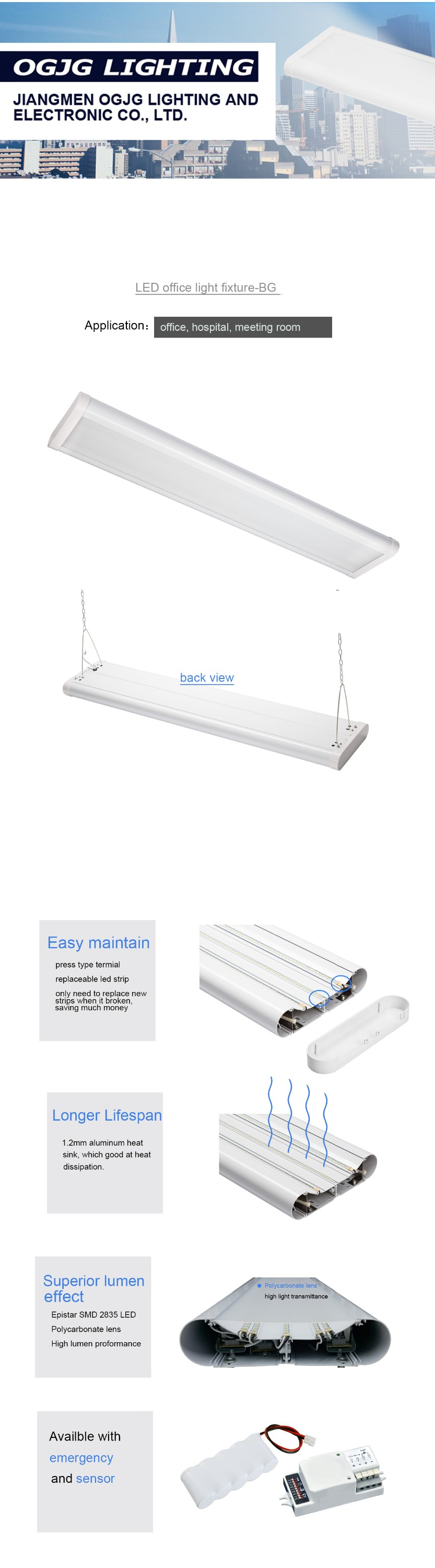 train station emergency pc diffuser pendant light 60w 80w 120w 160w ticket office suspended dimming led linear lighting fixture