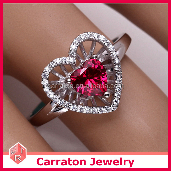 Factory Wholesale New Arrival Sterling Silver Heart Shaped Ruby Ring