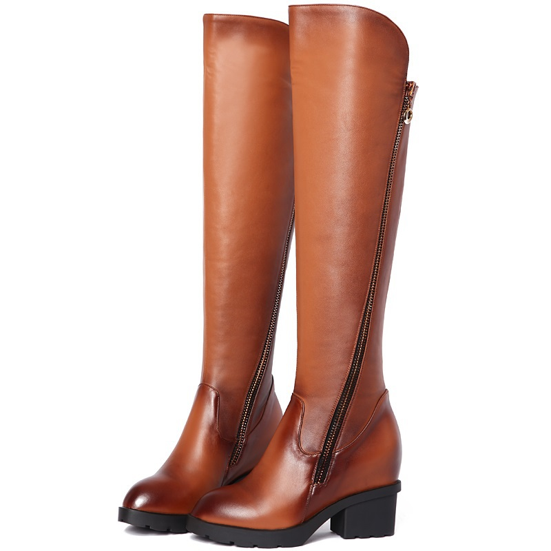 2015 fashion genuine leather pointed toe shoes woman knee high boots zipper black brown woman winter long boots women size 33-39