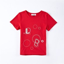 2016 Fashion Latest Design Top Letter Embroidery Kids T-Shirt For Wholesale