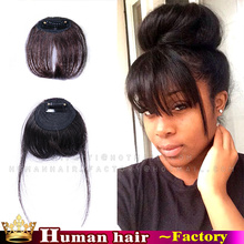 Clip in Air Bangs Human Hair Extension Hairpieces Front Hair Fringe bangs Extension Clip on Front Neat Bangs For Black Women