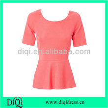 2014 women peplum short sleeve t-shirts wholesale garment