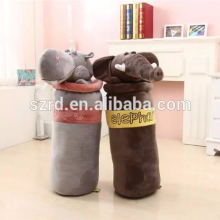 Best design new animals with long body pillow lovely cartoon elephant and hippo plush toy for kids