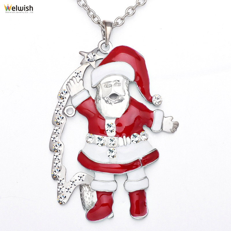 Santa Claus Alloy Enameled Pendant Necklace For Christmas