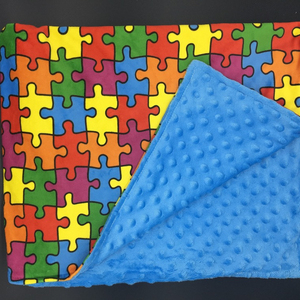 New XS(15 in x 40) 5 lb. Autism / Special Needs Rainbow Puzzle Weighted Blanket
