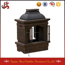 outdoor copper stone chiminea backyard fireplace
