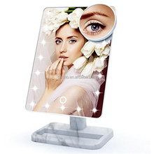 fashion marble design illuminated makeup mirror touch sensor switch led lighted makeup mirror