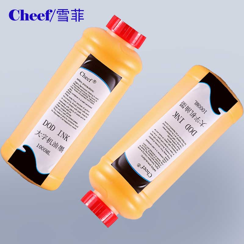 Yellow ink for large character inkjet printer usd on cement board