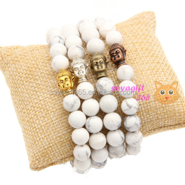 Silver Gold Bronze Red Copper Buddha Bracelet White Turquoise Beads Yoga Strength Bracelet