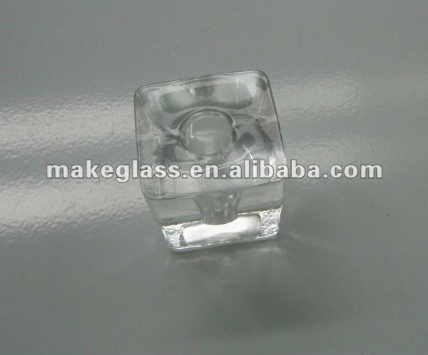 very small square glass candle holder