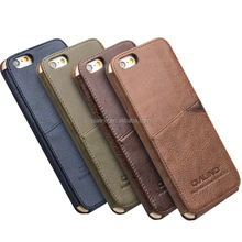 QIALINO Top quality slim style pure handmade genuine Leather cover case with card storage For apple iPhone 6