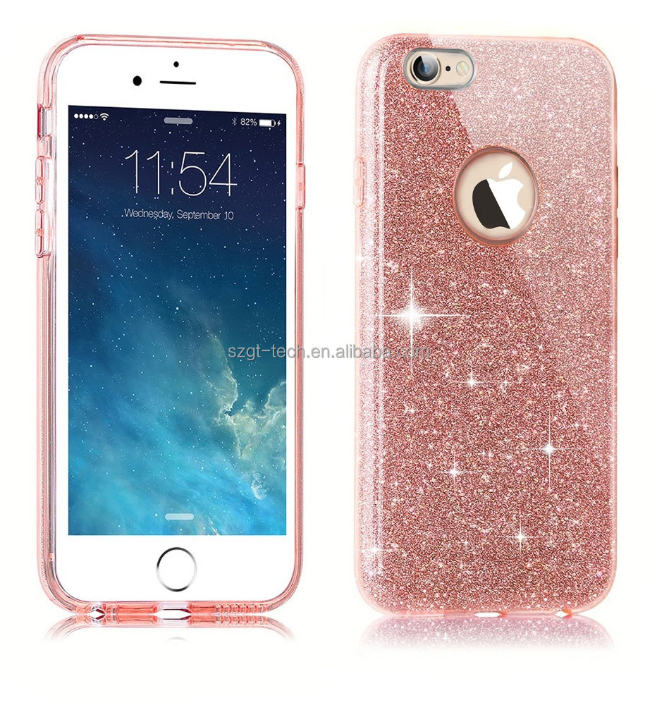 Flash Powder Paper + Hard PC TPU Cell Phone Case For iPhone 7 ,For iPhone 7 Transparent Glitter TPU PC 3 In1 cases