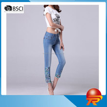 summer fashion national design slim fit straight leg high waisted embroidered capri denim jeans for women