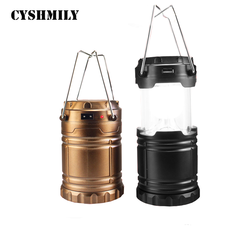 CYSHMILY Waterproof 6LED Telescopic Emergency Lamp Rechargeable Solar Battery Portable Camping Light