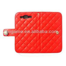 sheer Elegence Red Quilted leather Wallet case for samsung galaxy s3 i9300