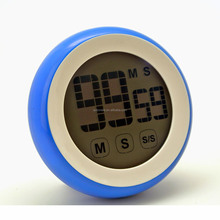 2017 Latest Design Round shape Touch Setting LCD Screen Electronic Timer With Magnet On Table