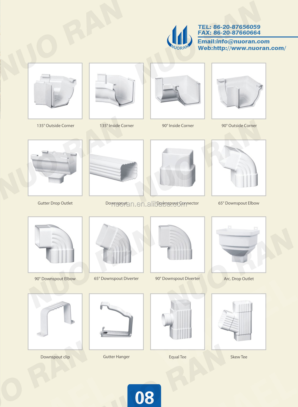 Nuoran White Pvc Drainage Pipe Fittings Pvc Drain System