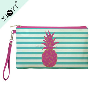 Fashion Striped Pineapple Print Promotional Cosmetic Organizer Bag Eco Beauty Makeup Travel Bag