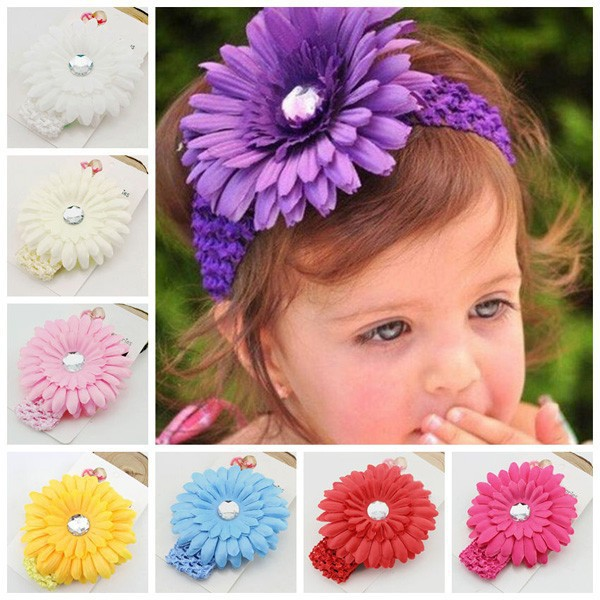 Fashion fabric hairband daisy flower head band baby stretch headbands