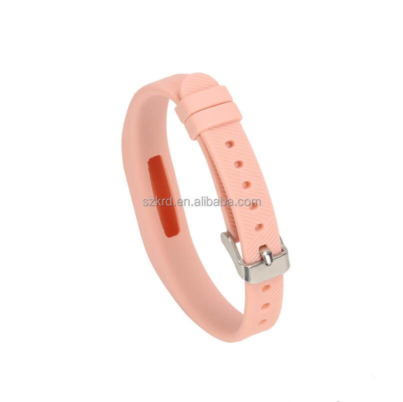 WatchBands Luxury Silicone Watch Replacement Band Strap For Fitbit Flex 2 Flex2 With Classic Buckle